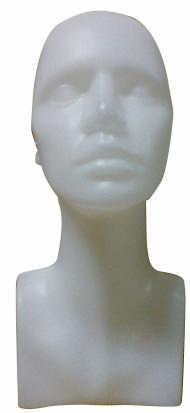 Plastová hlava dámská, bílá