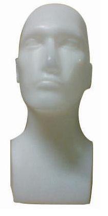 Plastová hlava pánská, bílá