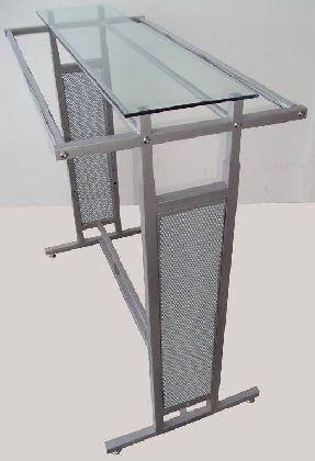 Stojan kombi, výškově stavitelný se skleněnou deskou na vrchu,šedý