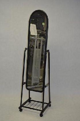 Pojízdné zrcadlo velké, hliníkový rám, černý lak