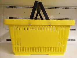 Plastový nákupní košík se 2 držadly-Žlutá barva