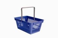 Plastový nákupní košík s 1 držadlem.