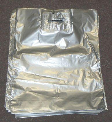 LDPE taška průhmatem, stříbrná, velikost: 380x440mm.