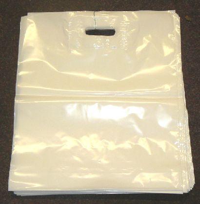 LDPE taška průhmatem, bílá, velikost: 380x440mm.