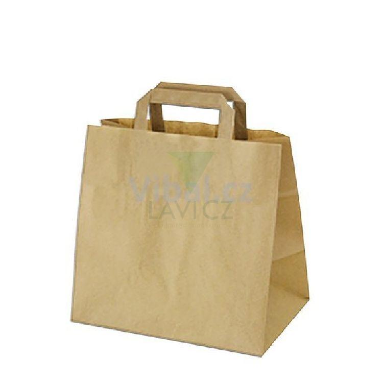 Papírová taška hnědá KRAFT 32+22X24 50ks balení 88244b618e1